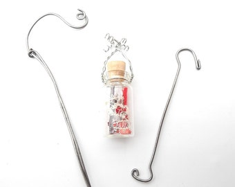 Valentine's Day Love Spell in a Jar with Pretty Handmade Shepherd's Hook & Tree Hook for the Miniature Garden, Fairy Garden, Spread Love