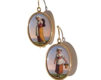 Antique 14K Earrings French Enamel Portrait Victorian Peasant Maiden Miniatures