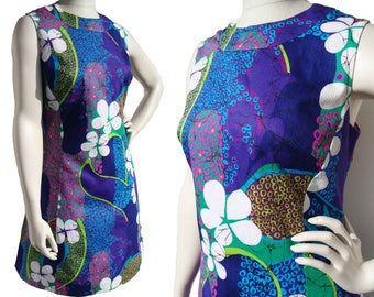 Vintage Floral Dress Hawaiian Style Cotton Sundress M / L