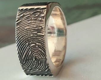 Custom Fingerprint Ring Wedding Band  Signet Personalized Sterling Silver Jewelry