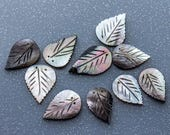 RESERVED for Patti Art Deco Smoked Mother of Pearl Leaves  2.7cm Long Perfect for Embellishment,Button Bouquets,Jewellery,Haircombs 10