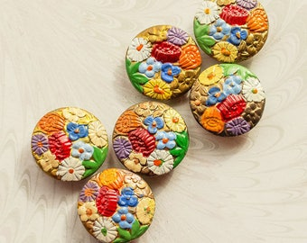 SIX Art Deco Vintage Hand Painted, Enamel Floral Buttons,Bright Colors 1920-1930's,Summer Floral , (lot 6) FREE UK Postage
