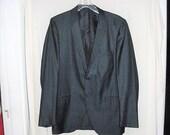 Vintage 50s Mens Blue Sharkskin Sport Jacket 40 L As Is