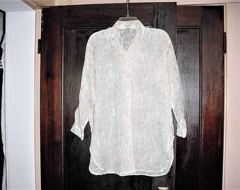 Vintage 80s Thin Gauze Ladies Long Sleeve Tunic Shirt XS Embroidered Express