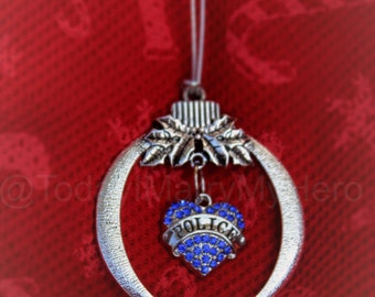LEO Police Officer Cop Patriotic Military Christmas Tree Ornament stocking stuffer Holiday~Heart