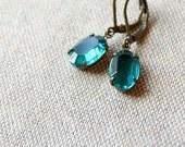 On Sale Aqua Rhinestone Earrings / Vintage Swarovski Jewel Earrings / Aqua Blue Crystal Glass Jewel / Leverback Earrings