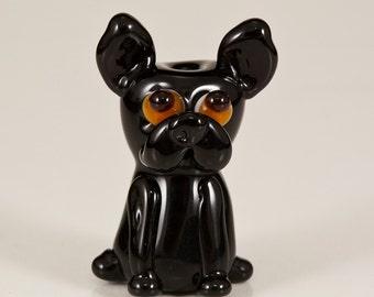 Black Frenchie Lampwork Dog Bead