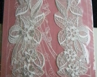Vintage Embroidered Elegance Lace Applique White