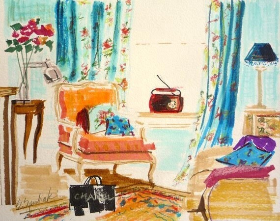 Paris Apartment, Stocking Stuffers, French Interior, Art Print, VINTAGE PARIS, French Decor, Furniture, Interiors Paintings, Bergere Chair