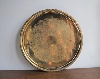 Vintage brass round serving tray