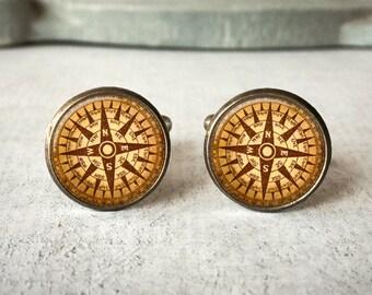 Custom Cufflinks, Compass Cufflinks, Vintage Compass Cuff Links, Groom Cufflinks, Anniversary Cufflinks, Gift for Traveler, Gift for Him