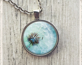 Dandelion Necklace, Dandelion Pendant, Dandelion Jewelry, Blue Dandelion Flower Necklace, Gift for Mom, Mom Gift, Gift for Her, Customize