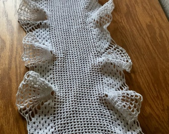 Vintage White Ruffled Crochet Doiley cotton 40 x 10 Inches long