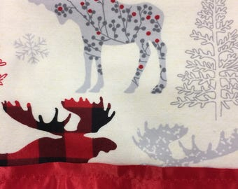 Flannel Ivory Moose Print Pillowcase