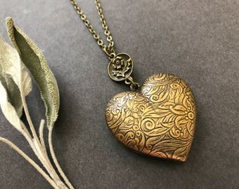 Heart Necklace, Puffed Heart, Floral Heart, Flower Connector, Antique Brass, Nature Inspired, Long Necklace, Valentine's Day, Anniversary