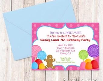 Candy Land Invitation, Printable Invitation Design, Custom Wording, JPEG File
