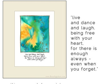inspirational wall art, live laugh love, motivational print, gifts for friends, dance gift