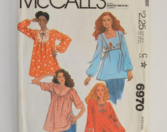 1970s Vintage McCall's Sewing Pattern 6970 Womens Loose Fit Boho Chic Pullover Blouse Top, Yokes, Stand Up Collar, Puff Sleeves Size 10,12