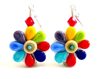 Rainbow Flower Earrings, Handmade Lampwork Beads, Colorful Earrings, Spring Summer Happy Earrings