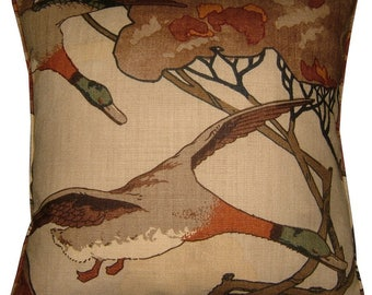 """Mulberry Flying Ducks Cushion Pillow Cover 18"""" in the Stone Colourway"""