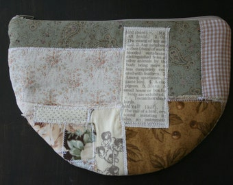 Accessories Zipper Pouch Quilted Padded with Scrappy Fabric Collage