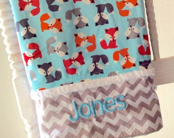 Personalized-Baby-Blanket-Boys-Fox-Boy-Gray-Quilts-Stroller-Receiving-Swaddling-Minky-Boys-Crib-Kids-Nursury-Room-Newborn-Toddler-Gift