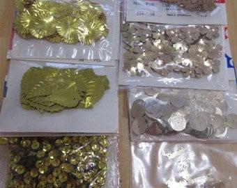 Gold sequins, vintage sequins, sunburst sequins, Christmas sequins, reindeer sequins, flower sequins, crescent sequins, cupped sequins