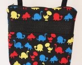 """Sugar Glider Bonding Pouch, Handmade, 8"""" by 8"""", Zippered & Lined, Black Colorful Dinosaur Print Flannel"""