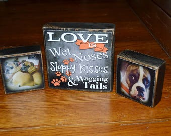 Pet Poem Block- Larger Photo block with saying- OR- Set of three- one large and two small with photos