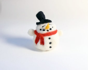 Felt Christmas ornament - needle felted snowman - smiley face and a top hat