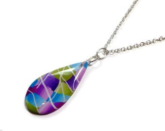 Teardrop Multicolor Necklace- Modern Statement Necklace- polymer clay Pendant Gifts for Her Birthday Graduation