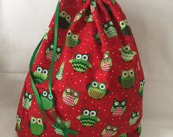 Christmas Fabric Gift Bag  Eco Friendly Bag  Drawstring Reuseable wrap --size 10 inches x 13 inches Red and Green OWLS