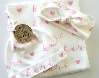 Swaddle Blanket Personalized for Baby Girl - Organic Cotton Knit Fabric - Receiving Blanket - Baby Knot Hat - Headband with Tiny Heart