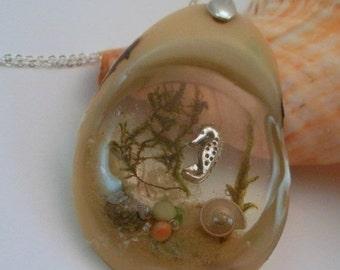 ON SALE Tagua Nut Little Seahorse Under the Sea 3D Resin Pendant