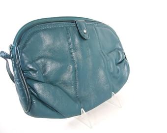Vintage 1980's Dark Green Clutch Purse with Skinny Strap