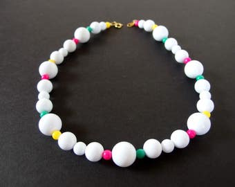 Vintage 1980's Chunky White Bead Necklace with Multicolored Accents