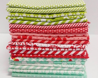 Sale!!  Bonnie and Camille  FQ Bundle - Red, Green and Aqua bundle (20 Pieces)