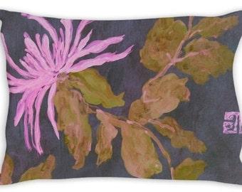 Decorative Throw Pillow ~ Chrysanthemum, purple, chinoiserie,