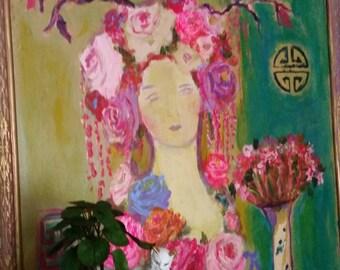 Aqua, floral crown, Chionoiserie vase, roses, pink, gold. purple, yellow aqua, bohemian