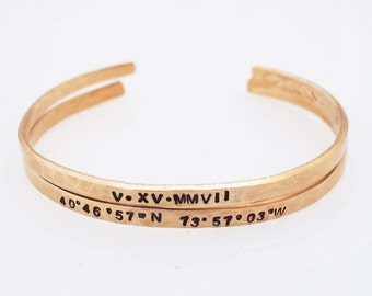 Roman Numeral Date,Latitude Longitude Bracelet,8th Anniversary Gift,Hammered Bronze Cuffs,GPS Bracelet