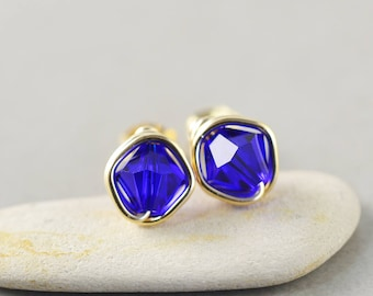 Cobalt Blue Crystal Studs, Bicone Crystal, Blue Posts, Gold Fill Studs