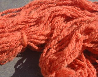Hand Spun Plant Dyed , Natural Dye, Madder Pure Romney Yarn