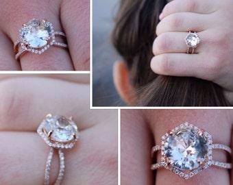 Hexagon Engagement Ring. Peach Sapphire Ring. 14k Rose Gold 3ct Round sapphire engagement ring by Eidelpresious