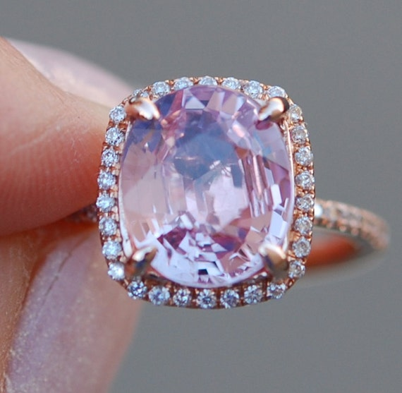 Pink Peach Sapphire Ring 14k Rose Gold Diamond Engagement Ring 2.3ct cushion sapphire