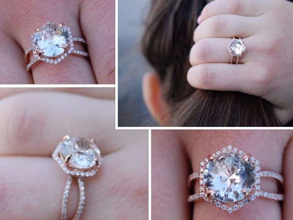 Hexagon Engagement Ring. Peach Sapphire Ring. 14k Rose Gold 3ct Round sapphire engagement ring by Eidelpresious