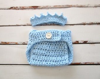 Baby Boy Crown and Diaper Cover Set, Baby Prince Crown, Crochet Baby Crown, Baby Boy Diaper Cover, Baby Boy Photo Prop, Newborn Crown Infant