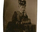 Tintype Beautiful Woman Stylish Hat Fur Muff Tinted Cheeks