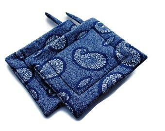 Handmade Quilted  Pot Holders set of 2 Paisley Navy Blue White