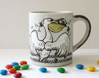 Pelicans. Vintage 1970s stoneware mug.