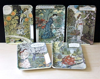 The Months. Set of 1980s small melamine trays, arts and crafts artstyle.